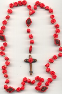 rose rosary with faux wood cross