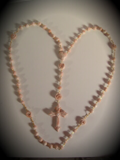 pink and white striped rosary