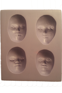 four face cabochon mold in silicone